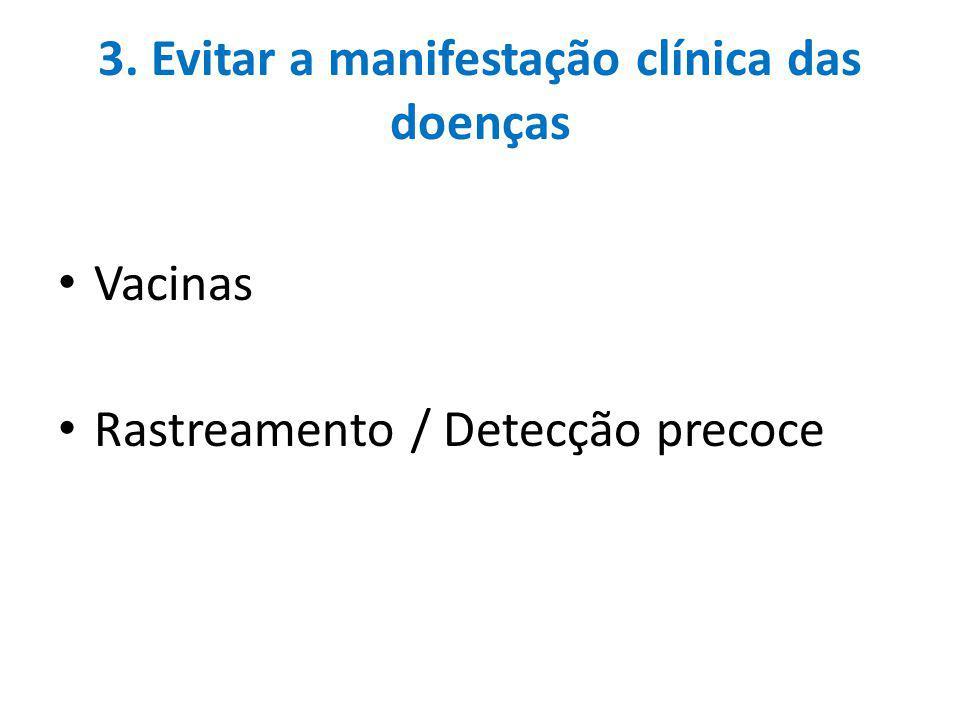 3. Evitar a manifestação clínica das doenças Vacinas Rastreamento / Detecção precoce