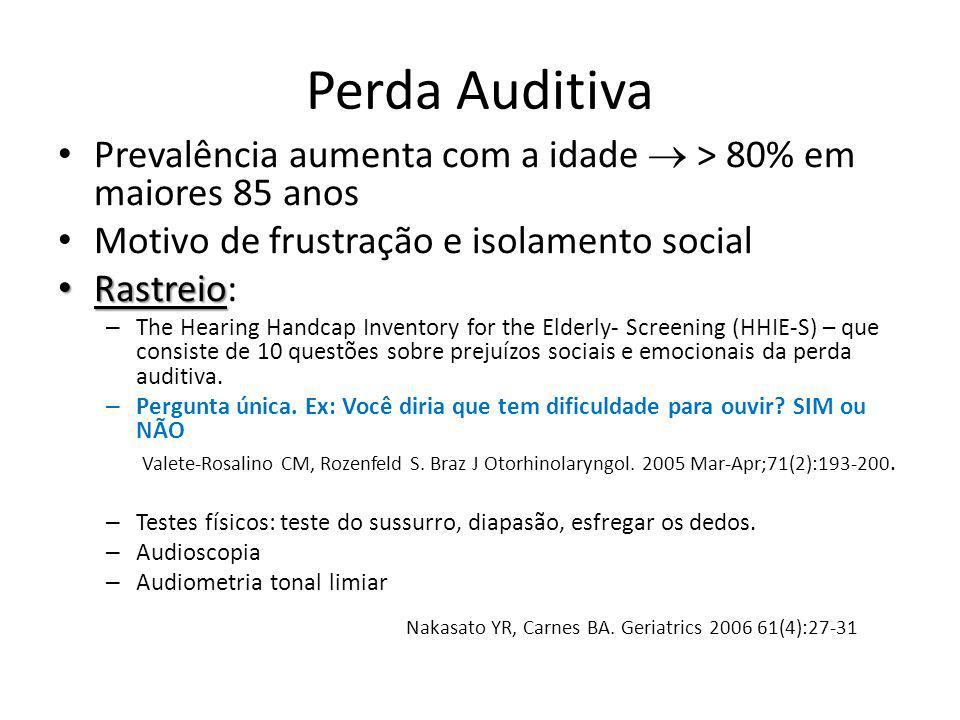 Perda Auditiva Prevalência aumenta com a idade > 80% em maiores 85 anos Motivo de frustração e isolamento social Rastreio Rastreio: – The Hearing Hand