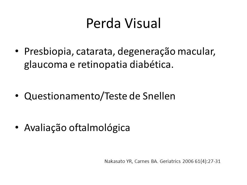 Perda Visual Presbiopia, catarata, degeneração macular, glaucoma e retinopatia diabética. Questionamento/Teste de Snellen Avaliação oftalmológica Naka