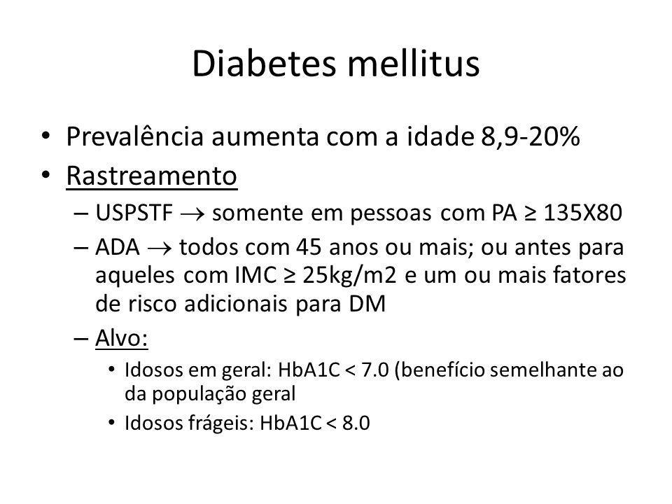 Diabetes mellitus Prevalência aumenta com a idade 8,9-20% Rastreamento – USPSTF somente em pessoas com PA 135X80 – ADA todos com 45 anos ou mais; ou a