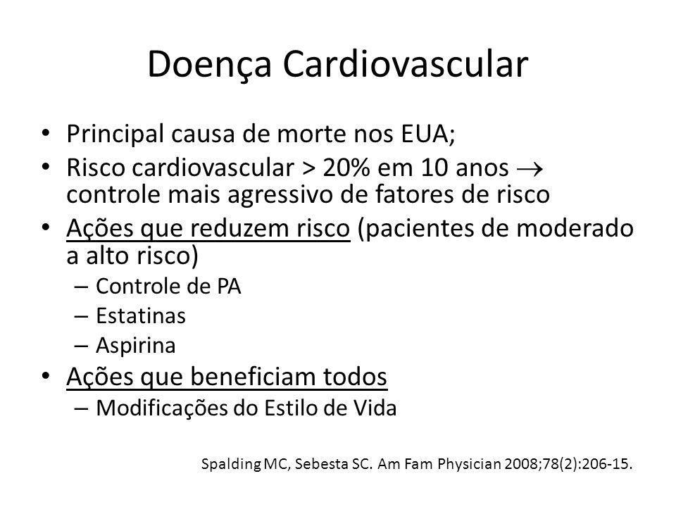 Doença Cardiovascular Principal causa de morte nos EUA; Risco cardiovascular > 20% em 10 anos controle mais agressivo de fatores de risco Ações que re
