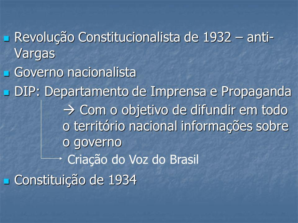 Revolução Constitucionalista de 1932 – anti- Vargas Revolução Constitucionalista de 1932 – anti- Vargas Governo nacionalista Governo nacionalista DIP: