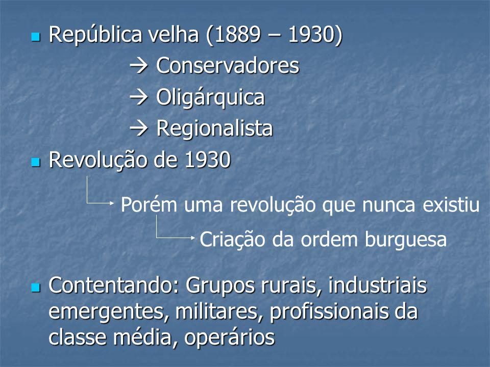 República velha (1889 – 1930) República velha (1889 – 1930) Conservadores Conservadores Oligárquica Oligárquica Regionalista Regionalista Revolução de
