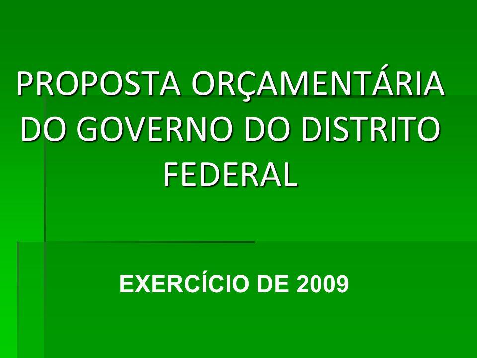 PROPOSTA ORÇAMENTÁRIA DO GOVERNO DO DISTRITO FEDERAL EXERCÍCIO DE 2009