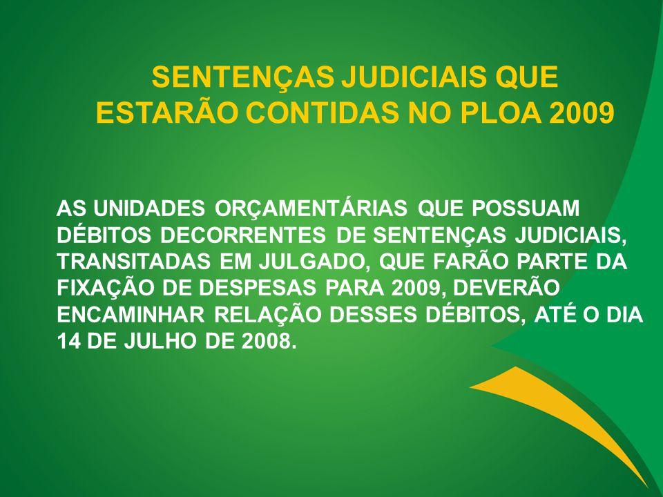 SENTENÇAS JUDICIAIS QUE ESTARÃO CONTIDAS NO PLOA 2009 AS UNIDADES ORÇAMENTÁRIAS QUE POSSUAM DÉBITOS DECORRENTES DE SENTENÇAS JUDICIAIS, TRANSITADAS EM