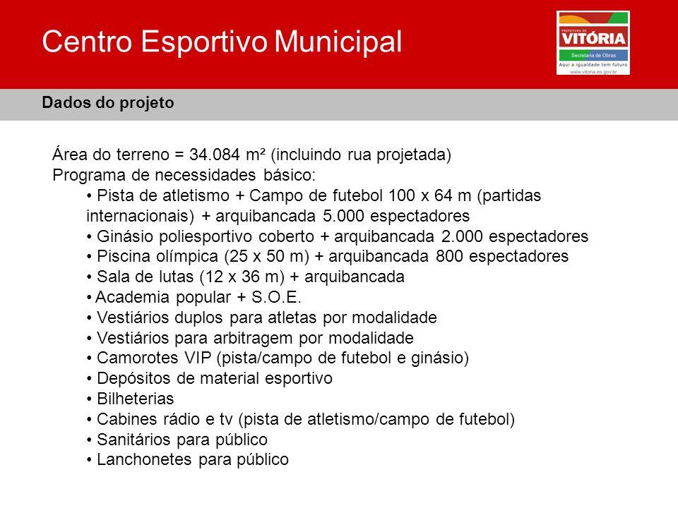 Centro Esportivo Municipal Área do terreno = 34.084 m² (incluindo rua projetada) Programa de necessidades básico: Pista de atletismo + Campo de futebo
