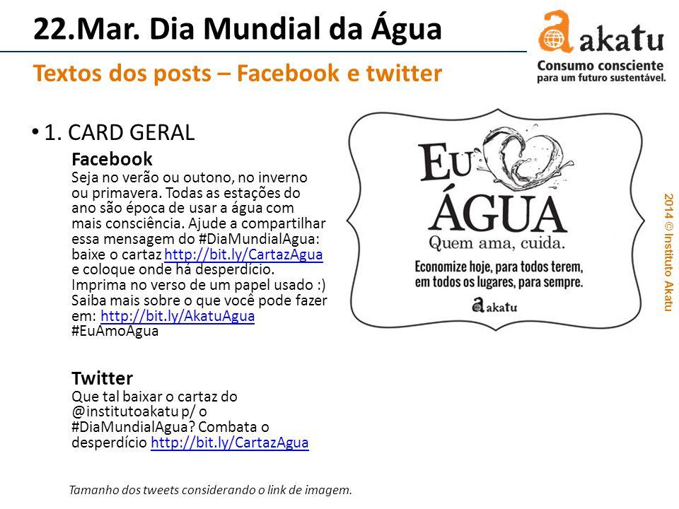 2014 © Instituto Akatu 22.Mar. Dia Mundial da Água 1. CARD GERAL Facebook Seja no verão ou outono, no inverno ou primavera. Todas as estações do ano s