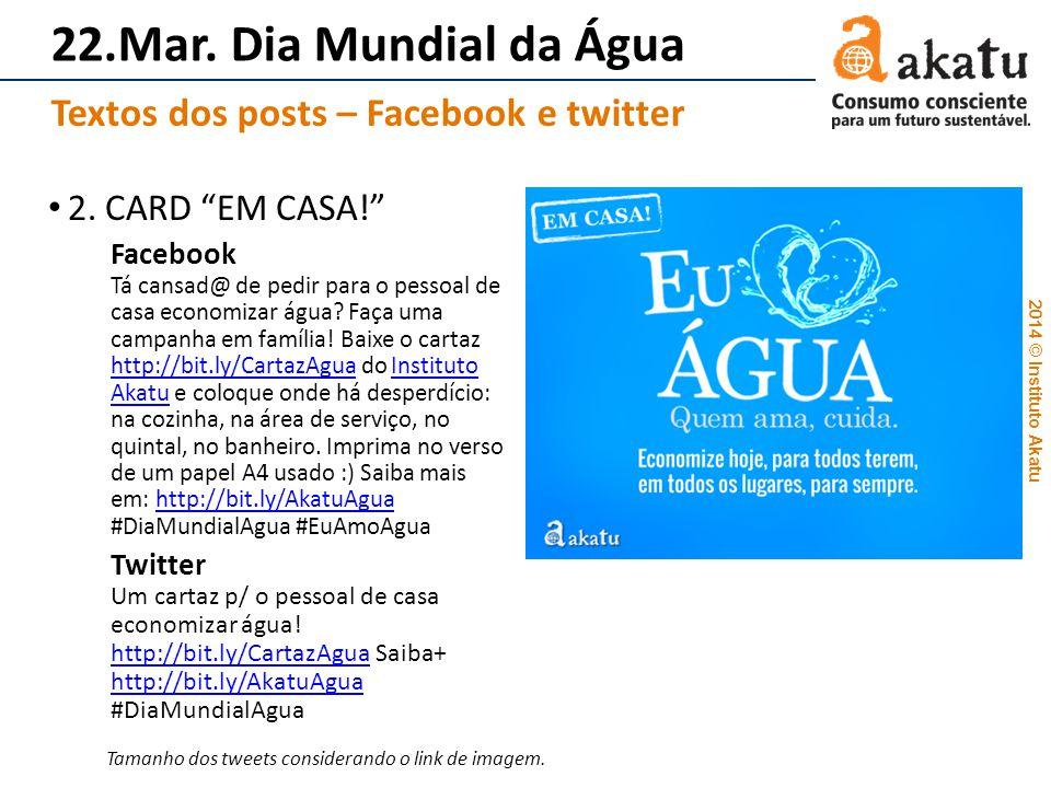 2014 © Instituto Akatu 22.Mar. Dia Mundial da Água 2. CARD EM CASA! Facebook Tá cansad@ de pedir para o pessoal de casa economizar água? Faça uma camp