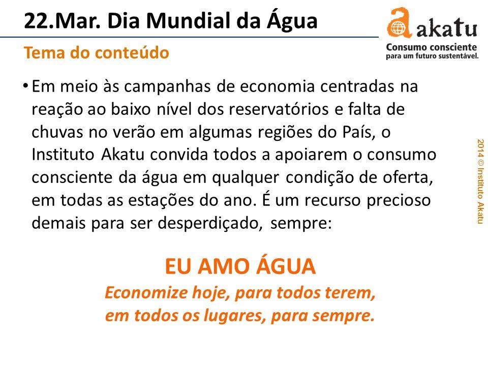 2014 © Instituto Akatu 22.Mar. Dia Mundial da Água Em meio às campanhas de economia centradas na reação ao baixo nível dos reservatórios e falta de ch