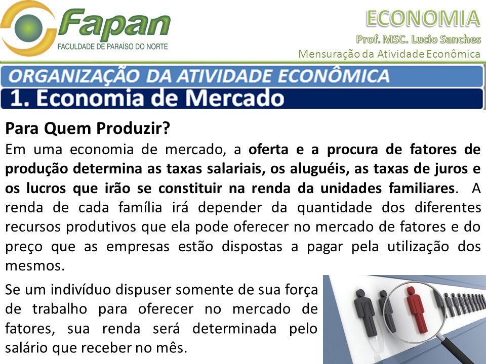 Para Quem Produzir? Em uma economia de mercado, a oferta e a procura de fatores de produção determina as taxas salariais, os aluguéis, as taxas de jur