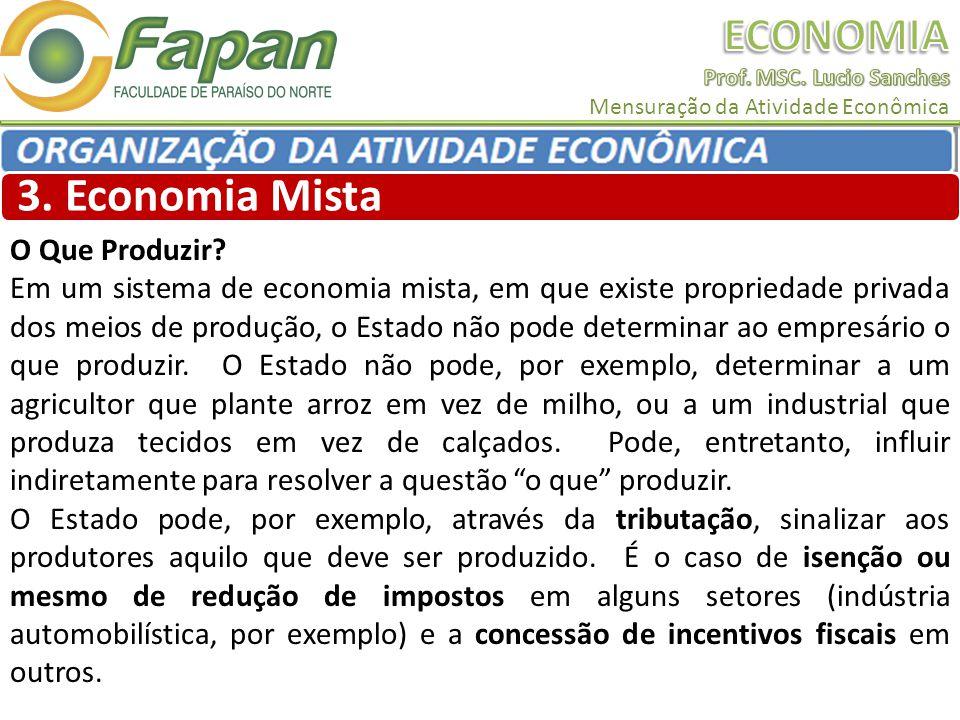3. Economia Mista O Que Produzir? Em um sistema de economia mista, em que existe propriedade privada dos meios de produção, o Estado não pode determin