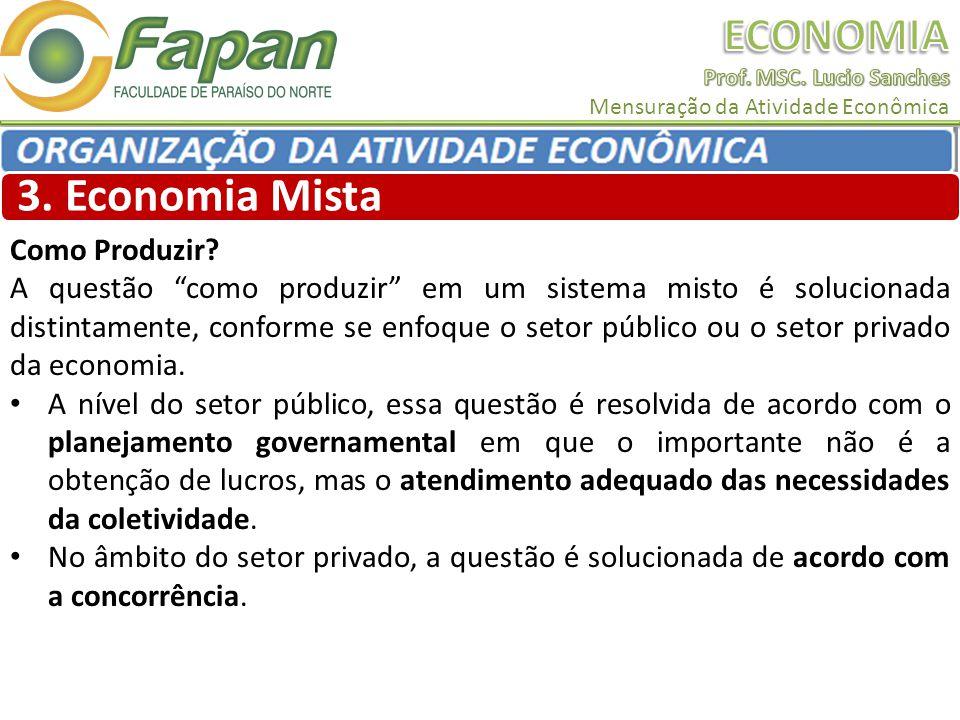 3. Economia Mista Como Produzir? A questão como produzir em um sistema misto é solucionada distintamente, conforme se enfoque o setor público ou o set