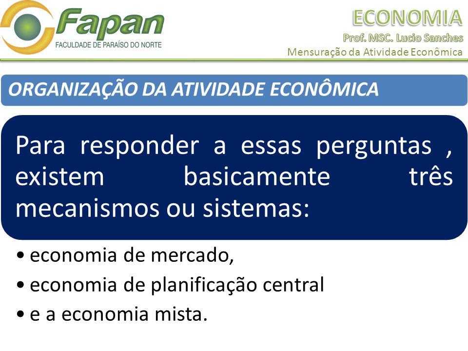 ORGANIZAÇÃO DA ATIVIDADE ECONÔMICA Para responder a essas perguntas, existem basicamente três mecanismos ou sistemas: economia de mercado, economia de