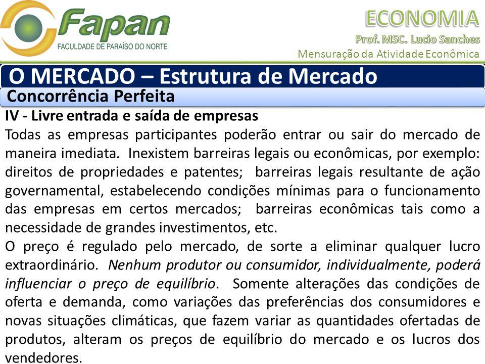 IV - Livre entrada e saída de empresas Todas as empresas participantes poderão entrar ou sair do mercado de maneira imediata.