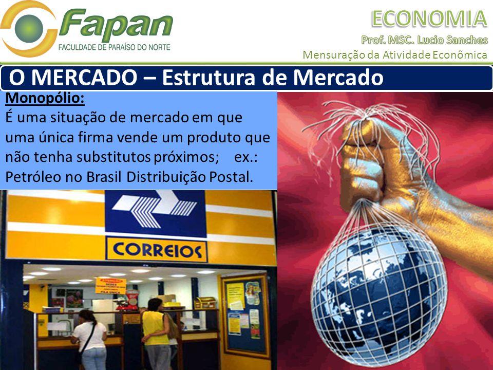 Monopólio: É uma situação de mercado em que uma única firma vende um produto que não tenha substitutos próximos; ex.: Petróleo no Brasil Distribuição Postal.