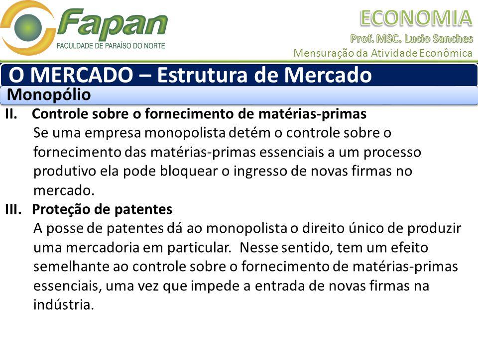 II.Controle sobre o fornecimento de matérias-primas Se uma empresa monopolista detém o controle sobre o fornecimento das matérias-primas essenciais a