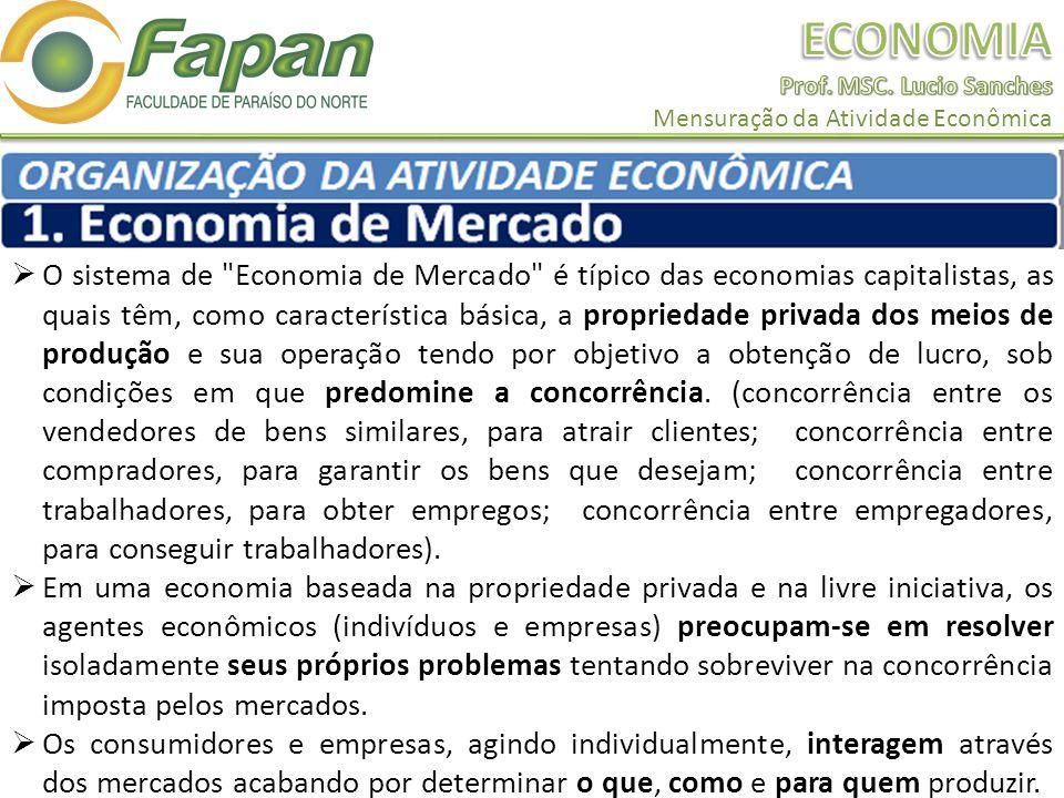 O sistema de Economia de Mercado é típico das economias capitalistas, as quais têm, como característica básica, a propriedade privada dos meios de produção e sua operação tendo por objetivo a obtenção de lucro, sob condições em que predomine a concorrência.
