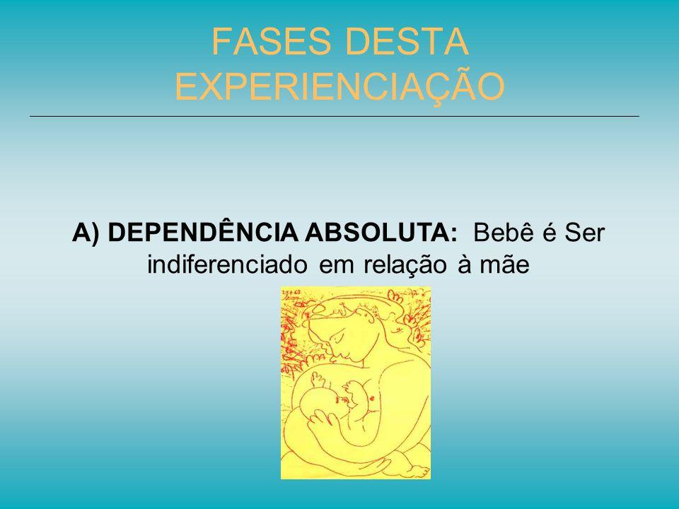 FASES DESTA EXPERIENCIAÇÃO A) DEPENDÊNCIA ABSOLUTA: Bebê é Ser indiferenciado em relação à mãe