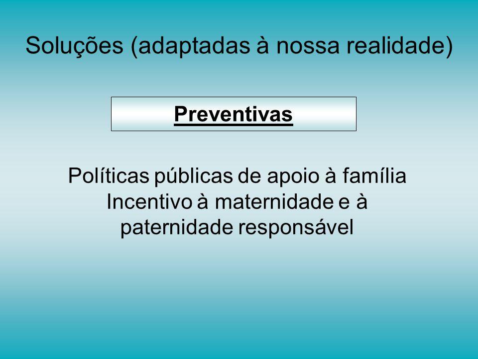 Soluções (adaptadas à nossa realidade) Preventivas Políticas públicas de apoio à família Incentivo à maternidade e à paternidade responsável