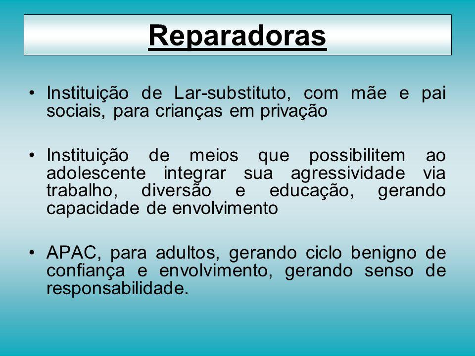 Instituição de Lar-substituto, com mãe e pai sociais, para crianças em privação Instituição de meios que possibilitem ao adolescente integrar sua agre