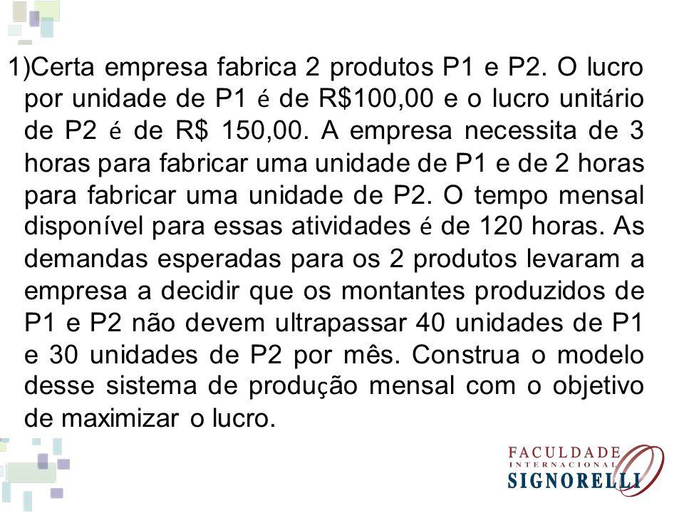 1)Certa empresa fabrica 2 produtos P1 e P2. O lucro por unidade de P1 é de R$100,00 e o lucro unit á rio de P2 é de R$ 150,00. A empresa necessita de