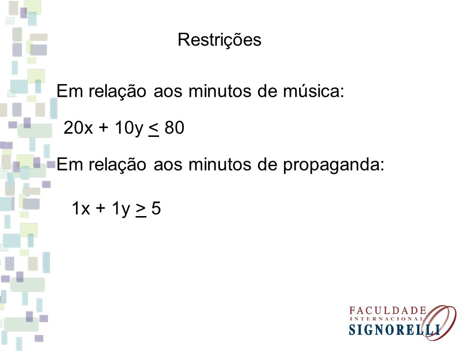 Restrições Em relação aos minutos de música: 20x + 10y < 80 Em relação aos minutos de propaganda: 1x + 1y > 5