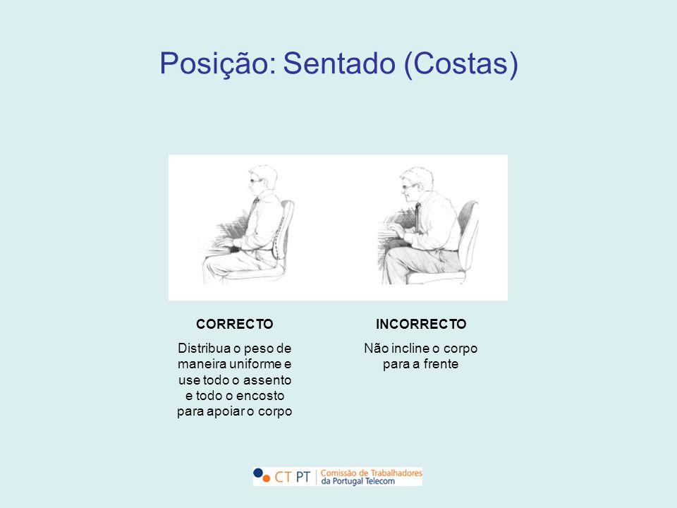 Posição: Sentado (Costas) CORRECTO Distribua o peso de maneira uniforme e use todo o assento e todo o encosto para apoiar o corpo INCORRECTO Não incli