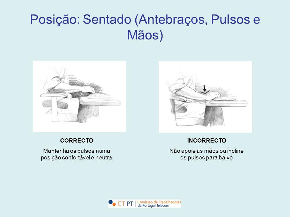 Posição: Sentado (Antebraços, Pulsos e Mãos) CORRECTO Mantenha os pulsos numa posição confortável e neutra INCORRECTO Não apoie as mãos ou incline os