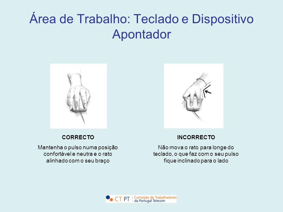 Área de Trabalho: Teclado e Dispositivo Apontador CORRECTO Mantenha o pulso numa posição confortável e neutra e o rato alinhado com o seu braço INCORR
