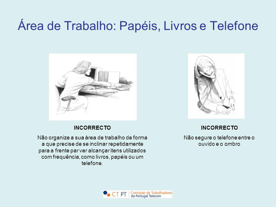 Área de Trabalho: Papéis, Livros e Telefone INCORRECTO Não organize a sua área de trabalho de forma a que precise de se inclinar repetidamente para a