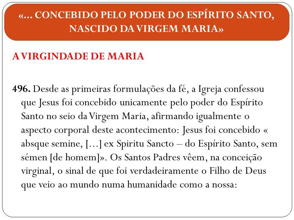 A VIRGINDADE DE MARIA 496. Desde as primeiras formulações da fé, a Igreja confessou que Jesus foi concebido unicamente pelo poder do Espírito Santo no