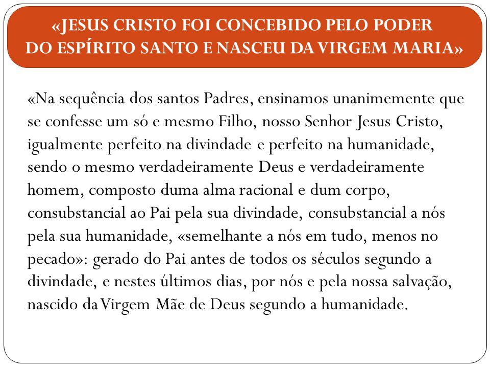 «Na sequência dos santos Padres, ensinamos unanimemente que se confesse um só e mesmo Filho, nosso Senhor Jesus Cristo, igualmente perfeito na divinda