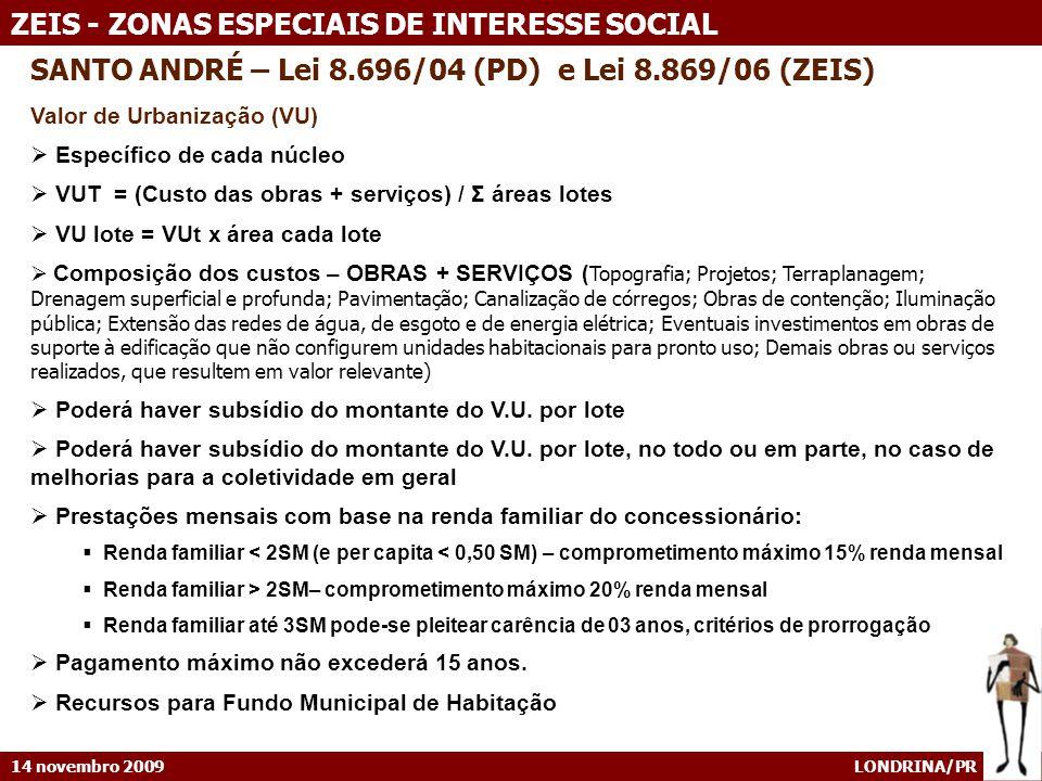 14 novembro 2009 LONDRINA/PR ZEIS - ZONAS ESPECIAIS DE INTERESSE SOCIAL SANTO ANDRÉ – Lei 8.696/04 (PD) e Lei 8.869/06 (ZEIS) Valor de Urbanização (VU