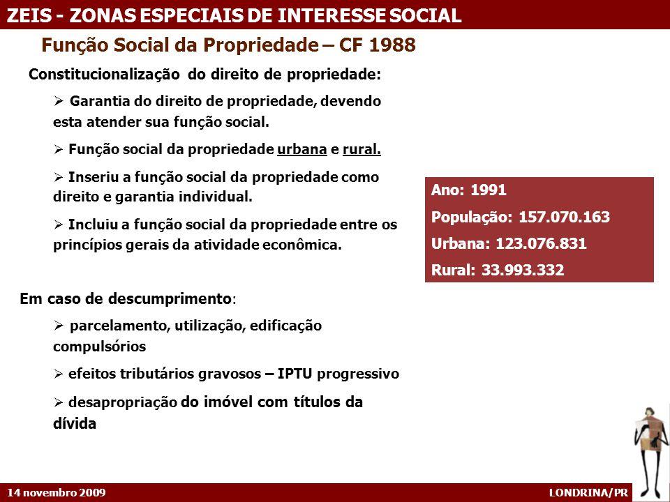 14 novembro 2009 LONDRINA/PR ZEIS - ZONAS ESPECIAIS DE INTERESSE SOCIAL ZEIS EM ALGUNS MUNICÍPIOS SÃO PAULO – Lei 13.430/02 O Plano aprovado em 2002 cria o instrumento das ZEIS e delimita as ZEIS no território.