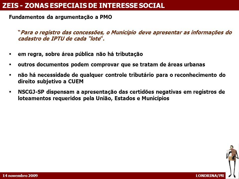 14 novembro 2009 LONDRINA/PR ZEIS - ZONAS ESPECIAIS DE INTERESSE SOCIAL Fundamentos da argumentação a PMO Para o registro das concessões, o Município
