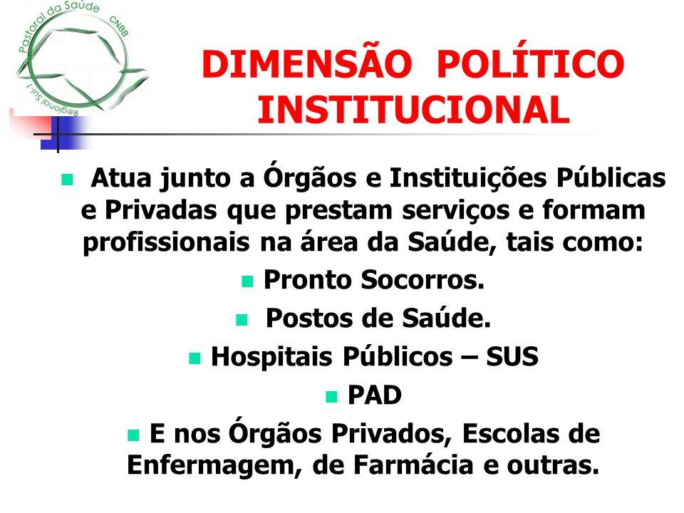 DIMENSÃO POLÍTICO INSTITUCIONAL Atua junto a Órgãos e Instituições Públicas e Privadas que prestam serviços e formam profissionais na área da Saúde, t
