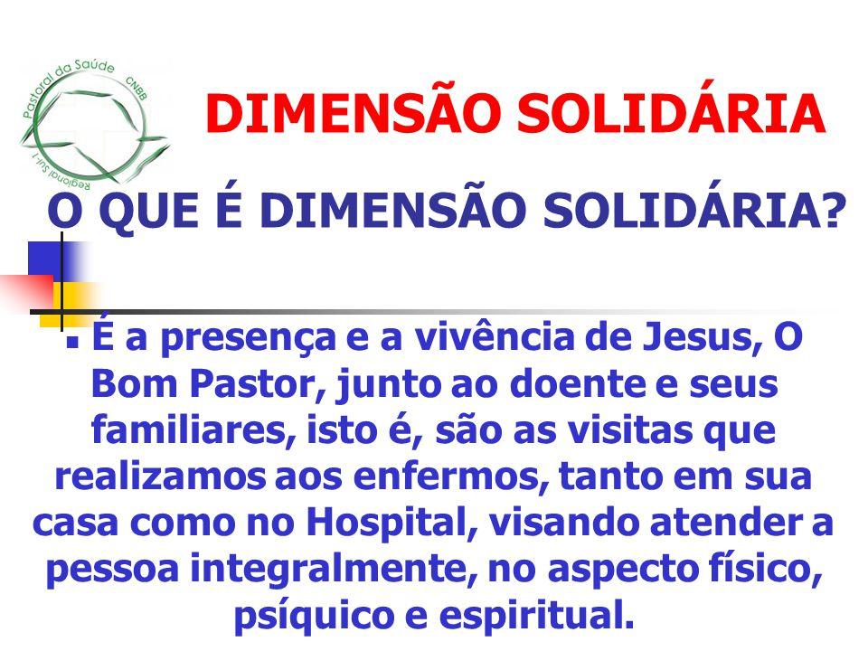 DIMENSÃO SOLIDÁRIA É a presença e a vivência de Jesus, O Bom Pastor, junto ao doente e seus familiares, isto é, são as visitas que realizamos aos enfe
