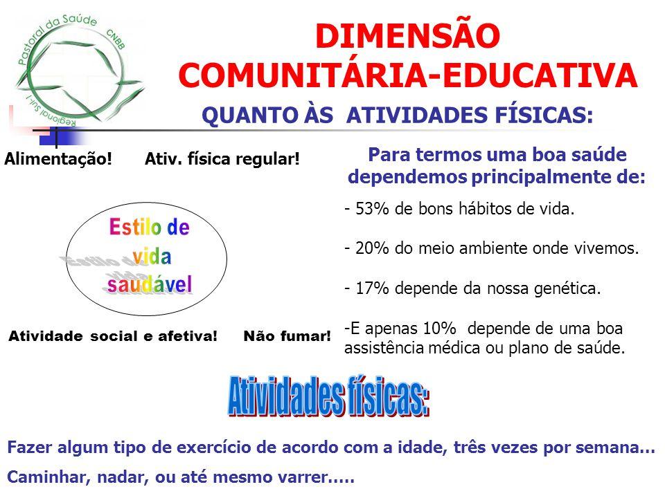 DIMENSÃO COMUNITÁRIA-EDUCATIVA Alimentação! Ativ. física regular! Atividade social e afetiva! Não fumar! Para termos uma boa saúde dependemos principa