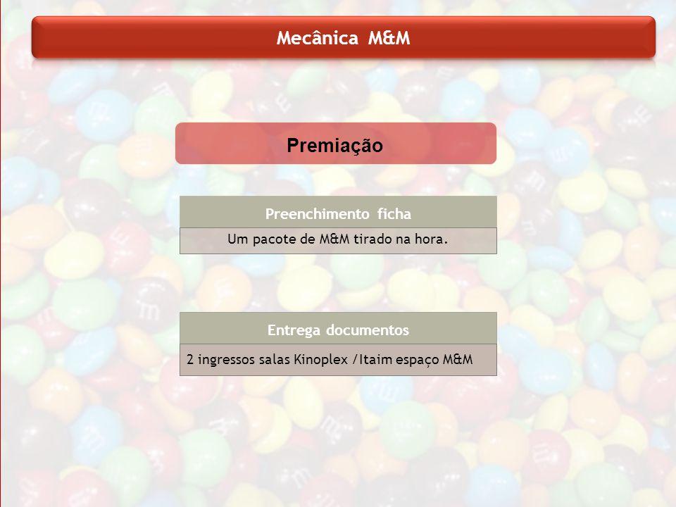 Preenchimento ficha Um pacote de M&M tirado na hora. Entrega documentos 2 ingressos salas Kinoplex /Itaim espaço M&M Premiação