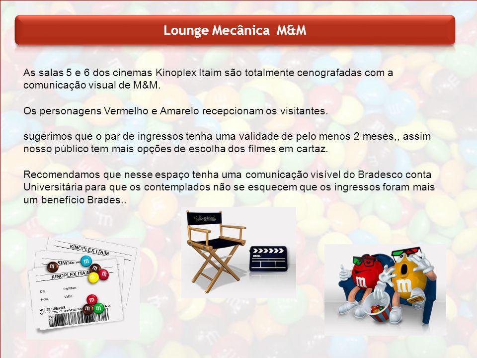 As salas 5 e 6 dos cinemas Kinoplex Itaim são totalmente cenografadas com a comunicação visual de M&M. Os personagens Vermelho e Amarelo recepcionam o