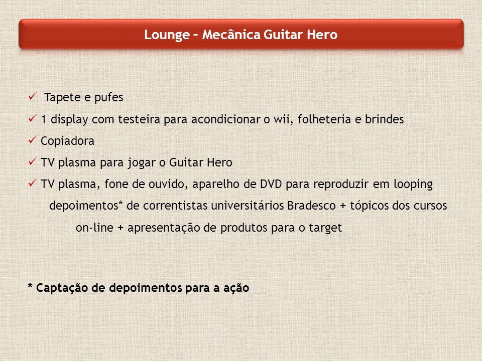 Tapete e pufes 1 display com testeira para acondicionar o wii, folheteria e brindes Copiadora TV plasma para jogar o Guitar Hero TV plasma, fone de ou