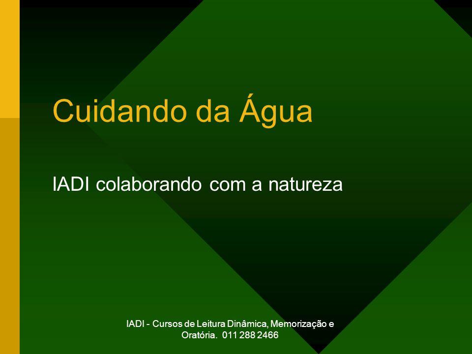 IADI - Cursos de Leitura Dinâmica, Memorização e Oratória. 011 288 2466 Cuidando da Água IADI colaborando com a natureza