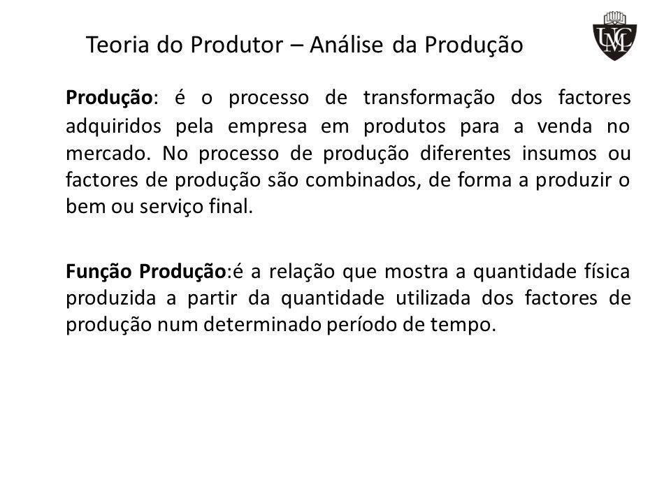 Teoria do Produtor – Análise da Produção Produção: é o processo de transformação dos factores adquiridos pela empresa em produtos para a venda no mercado.