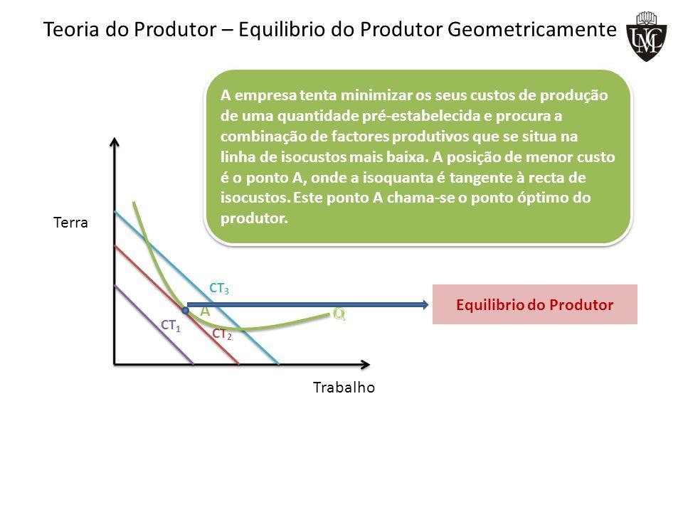 Teoria do Produtor – Equilibrio do Produtor Geometricamente CT 1 CT 2 CT 3 A empresa tenta minimizar os seus custos de produção de uma quantidade pré-estabelecida e procura a combinação de factores produtivos que se situa na linha de isocustos mais baixa.