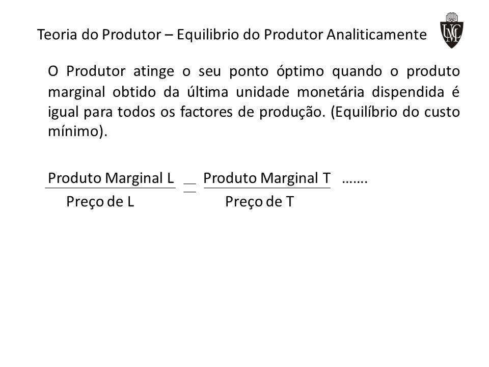 Teoria do Produtor – Equilibrio do Produtor Analiticamente O Produtor atinge o seu ponto óptimo quando o produto marginal obtido da última unidade monetária dispendida é igual para todos os factores de produção.