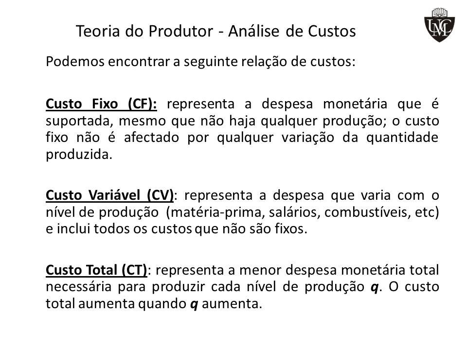 Teoria do Produtor - Análise de Custos Podemos encontrar a seguinte relação de custos: Custo Fixo (CF): representa a despesa monetária que é suportada, mesmo que não haja qualquer produção; o custo fixo não é afectado por qualquer variação da quantidade produzida.