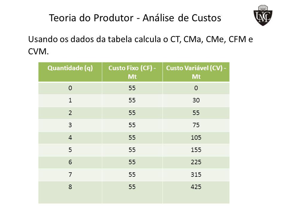 Teoria do Produtor – As curvas de Custo