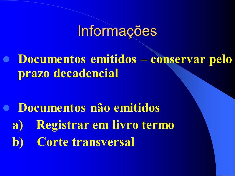 Informações Documentos emitidos – conservar pelo prazo decadencial Documentos não emitidos a) Registrar em livro termo b) Corte transversal