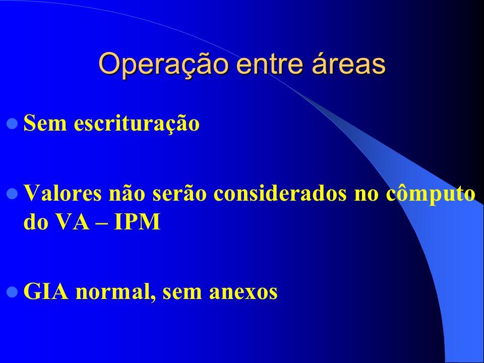 Operação entre áreas Sem escrituração Valores não serão considerados no cômputo do VA – IPM GIA normal, sem anexos