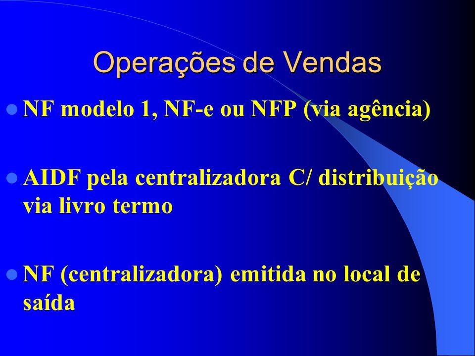 Operações de Vendas NF modelo 1, NF-e ou NFP (via agência) AIDF pela centralizadora C/ distribuição via livro termo NF (centralizadora) emitida no local de saída